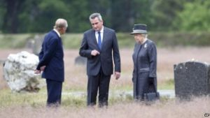 Queen Elizabeth II Duke of Edinburgh Bergen Belsen Concentration Camp Holocause June 2015